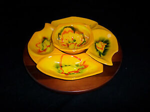Vintage-California-Pottery-Lazy-Susan-Set-w-wooden-turn-table-Drip-Glaze