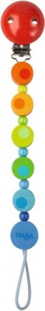HABA Schnullerkette Kette für Schnuller Holz Regenbogen rot blau gelb grün