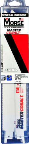 "MORSE Master Cobalt Reciprocating Saw Blade 8"" x 3/4"" 18TPI RB818T50 (50 pack)"