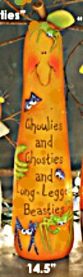 CERAMIC BISQUE HALLOWEEN SIMPLE SMILEY 'GHOULIES' PUMPKIN 14.5