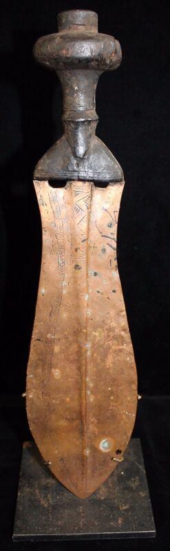 Lovely 19th C. African Kuba Kingdom (Congo Area) Copper Bladed Prestige Knife