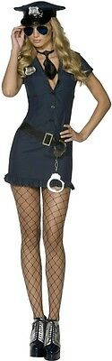 Womens Sexy Police Officer Costume Navy Blue Fancy Dress Adult Halloween Cop S M