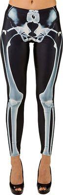Orl - Damen Kostüm Skelett Leggings Halloween Karneval ()
