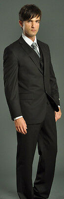 Three Piece Solid Mens Black Suit 4 Funeral Red Carpet Business Prom Wedding