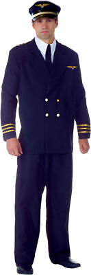 Morris Costumes Men's Pilot Airline Captain Faux Costume Black Standard. - Halloween Costumes Pilot