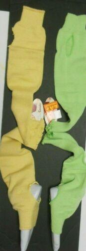 "Stirrup legwarmers 2 colors pale yellow paradise green ladies 20"" cotton acrylic"
