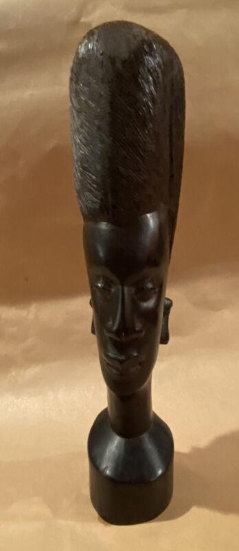 Vintage African Kenya Carved Wooden Face/Head Bust Art Sculpture