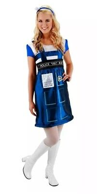 Womens Dr Who Costume (Dr. Who TARDIS Blue Phone Booth Dress Costume Adult Women S/M)