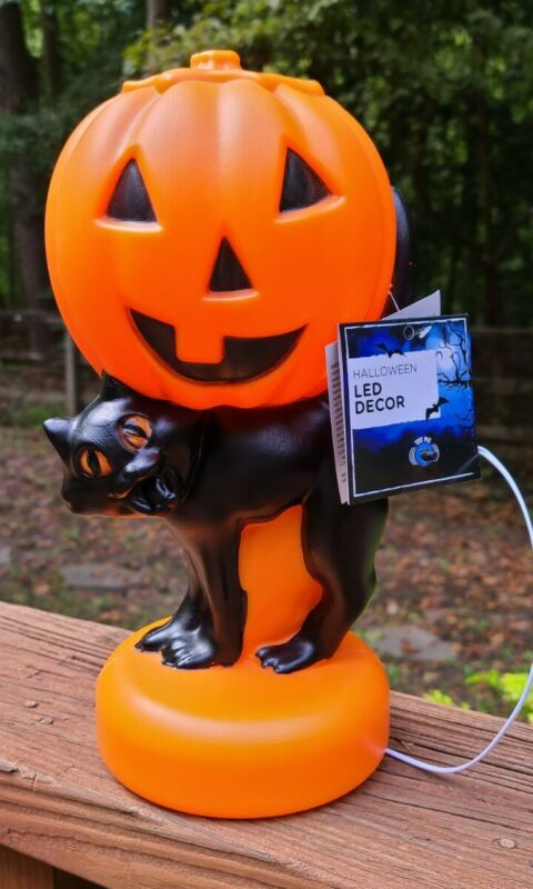 "Brand New Halloween Plastic Blow Mold Black Cat w/ Pumpkin Light Up 11"" RETRO"