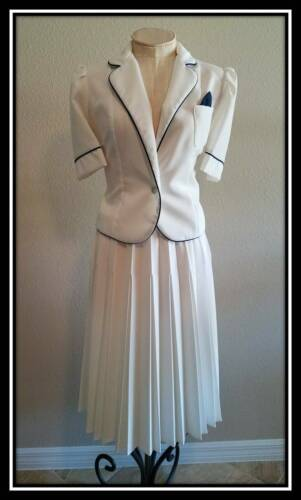 Vtg 70s 80s Vintage Bright white 2 pc pleated skirt suit Pin Up Secretary Large