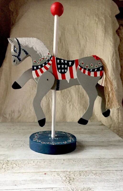 Patriotic Wooden Horse Carousel With Movable Legs. Free Shipping In The US!