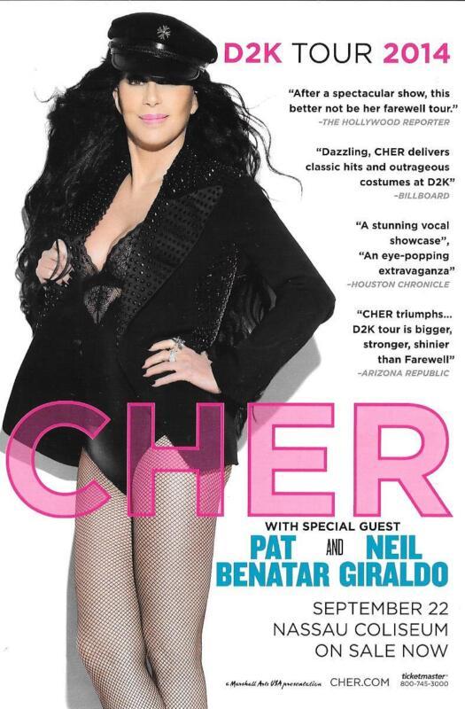 CHER Pat Benatar  Concert Handbill Mini Poster Nassau Col. Long Island NY  2014