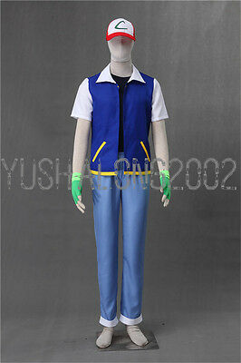POKEMON Ash Ketchum Cosplay costume Kostüm hat hut cloth handschuh Outfit go 5