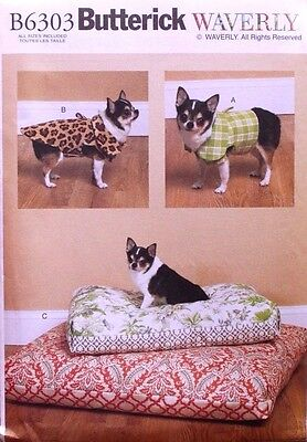 DOG COAT*VEST*DOG BED Butterick Waverly Pattern 6303 NEW Sizes  S-M-L-XL