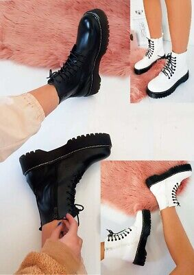 Womens Ladies Doc Chunky Lace Up Ankle Boots Platform Icon Retro Goth Punk (Chunky Lace Up Platforms)