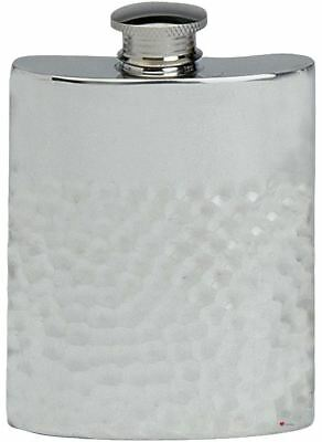 Hammered Design Hip Flask - Hammered Design Hip Flask 4oz Kidney Shape Pewter Ideal Gift
