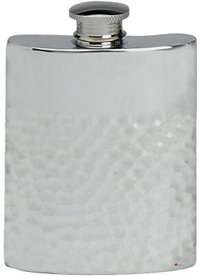 Hammered Design Hip Flask - Hammered Design Hip Flask 6oz Kidney Shape Pewter Ideal Gift