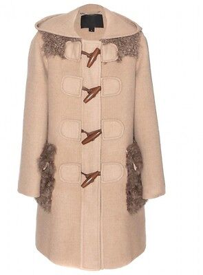 Fur Trimmed Toggle - Marc Jacobs LV RUNWAY Lamb Fur-Trimmed Alpaca Toggle Beige Coat New $4500~8(10)