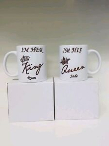His and hers mugs. Add names. Birthday Valentine's day wedding Novelty gift.