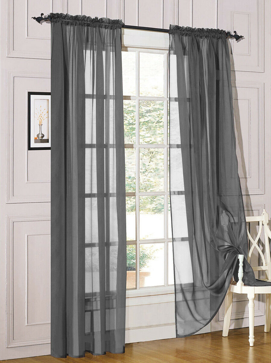 2 Piece Sheer Voile Rod Pocket Window Panel Curtain Drapes Many Sizes  Colors