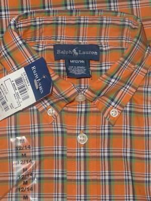 RALPH LAUREN Orange Navy Button Down Short Sleeve Boy's Shirt Sz M 12/14 NWT