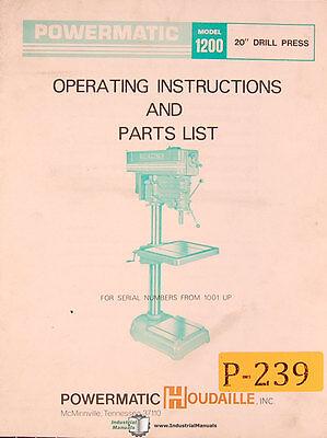 Powermatic Model 1200 20 Drill Press 1001 Up Operations And Parts Manual