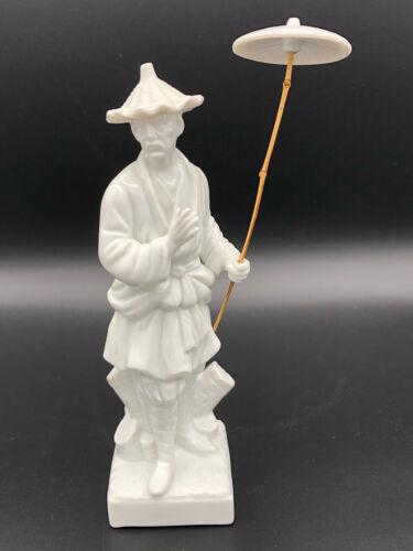 Fitz & Floyd White Porcelain Asian Man Figurine w/Bamboo Umbrella. 1976
