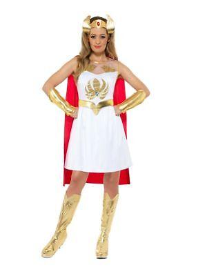 Womens Glitter Print She Ra Superhero Fancy Dress Costume 80's Cartoon He Man