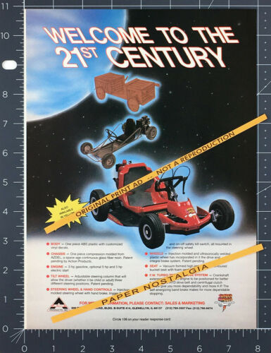 FUNDER WHEELS Go Kart__Original 1989 Trade Print AD / promo__Action Products ad