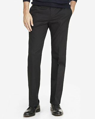 NEW EXPRESS BLACK CLASSIC PRODUCER STRETCH COTTON DRESS PANT SZ 30/30