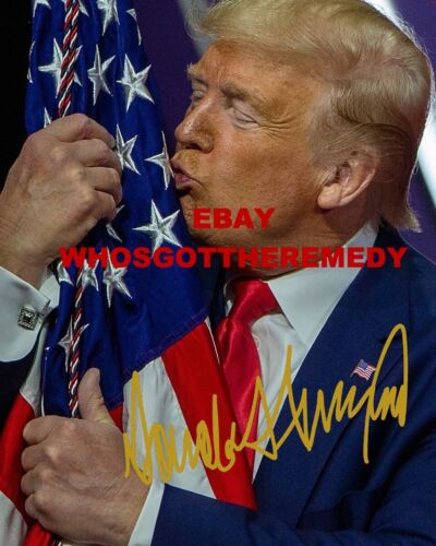 President Donald Trump Kissing Flag - Autographed -  8x10 Photo - FREE SHIPPING