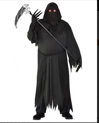 NEW Glaring Grim Reaper Adult PLUS XXL Costume with Light Up Eyes Halloween