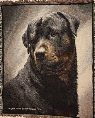 Brand New `ROTTWEILER Coverlet-Tom Weigand` DOG WOVEN Tapestry Throw Blanket