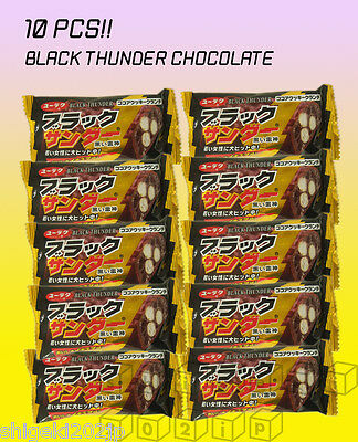 Black Thunder Chocolate 10 PCS Cocoa Cookie Crunch Japanese Candy Chocolate New - Black Thunder Candy