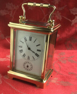Beautiful Vintage French Alarm Brass Carriage Clock Running Strong Freepost