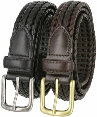 Woven Double Braided Genuine Leather Casual Dress Belt 1-1/8