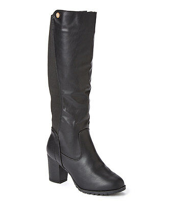 Black Chunky High Heel ( NEW Womens Forever Young Couture Black Stretch Knee High Chunky Heel)