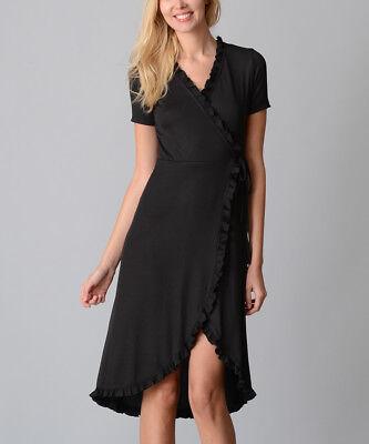 Black Ruffle Wrap Dress Size 8 Ladies Womens Surplice V Neck BNWT B-1368