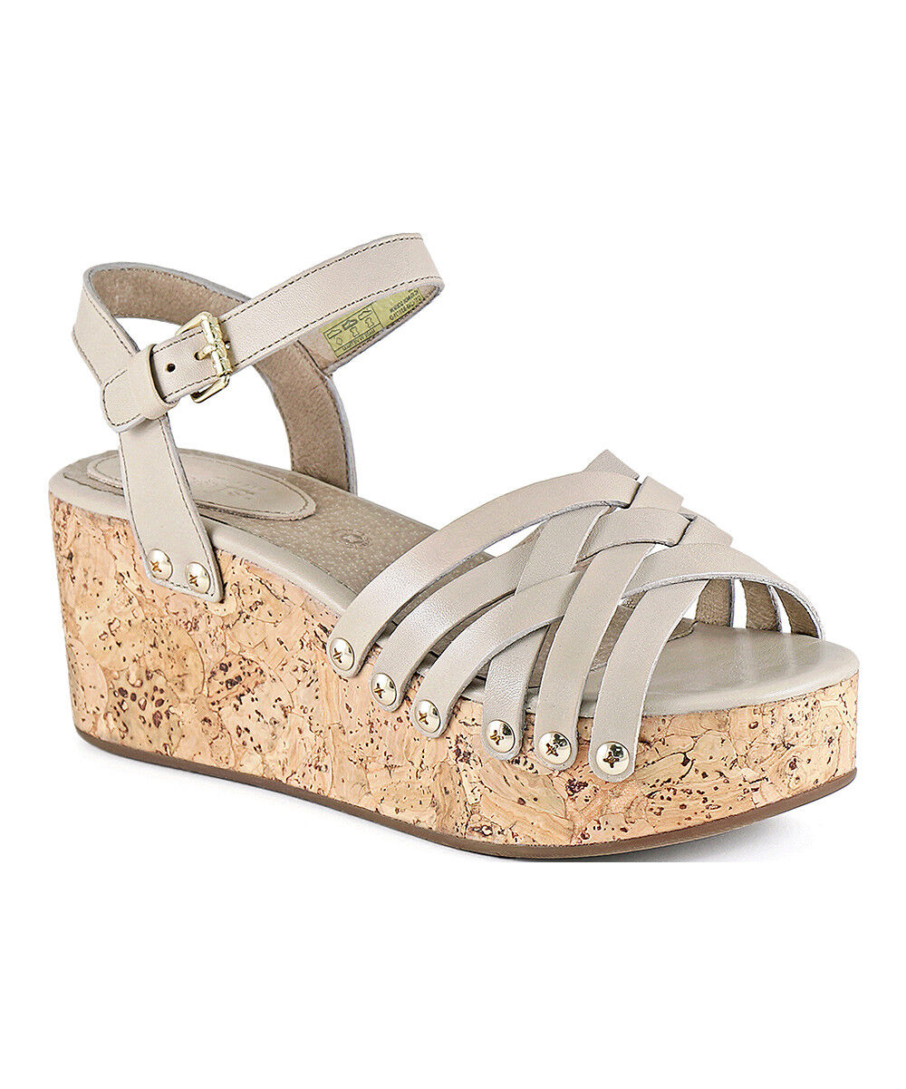 Womens Bussola Mavis Shoes Doeskin Cork Wedge Sandal Medium