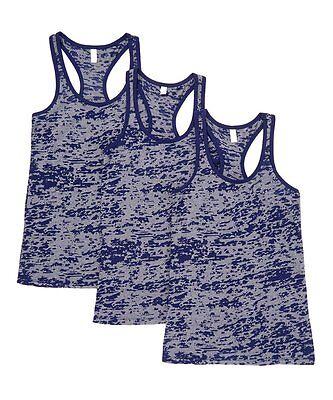 New Women's 3 Pack Navy Blue Burnout Racerback Tank Top Tops Sleeveless S M L XL ()