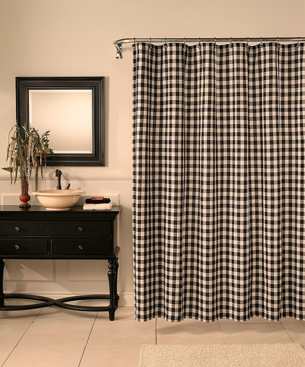 Details About Black Off White Check Country Primitive Farmhouse Fabric Shower Curtain Bath