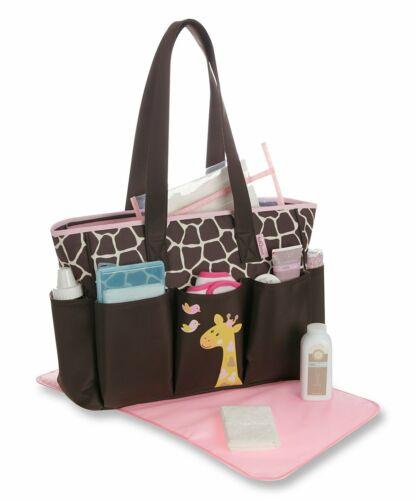 Babyboom Brown & Pink Giraffe Diaper Tote bag With Changing Pad, 7 Pockets.