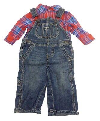 - OshKosh B'Gosh Baby Boys Overall & Long Sleeve Bodysuit Set Denim/Plaid