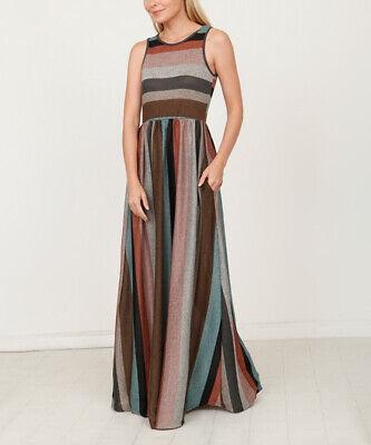 egs by éloges Mint & Pink Stripe Sleeveless Maxi Dress SIZE L NEW (Mint Chevron)