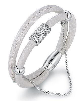 Swarovski White Leather - White Bangle Bracelet made With Swarovski Crystals Vegan Leather Magnetic Clasp