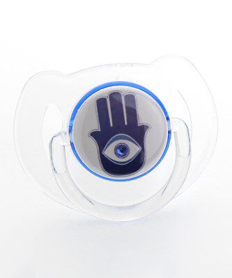 Hamsa Pacifier with Blue Swarovski Crystal Crystal Blue Pacifier
