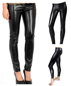 BNWT A-Express® Ladies Wet Look Leggings Shiny Latex Ankle Length Tights Black