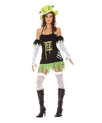 Womens Halloween Costumes Zombie (New Womens Halloween Black Green Zombie Monster Costume Set SZ)