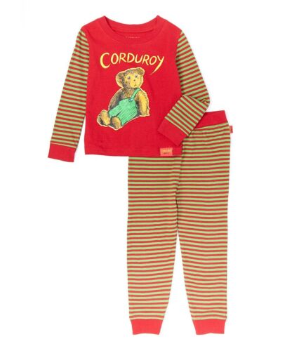 NWT Corduroy the Bear Red Long Sleeve Cotton Pajamas Set 2T 3T 4T 5T
