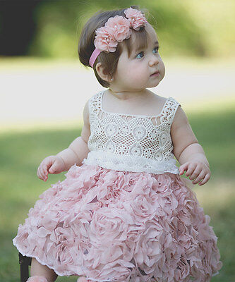 NWT Just Couture Boutique Girls Pink Rosette Easter Dress 2T Crochet Bodice